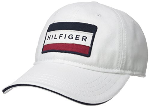 Tommy Hilfiger Men's Cole Dad Hat, Classic White, O/S