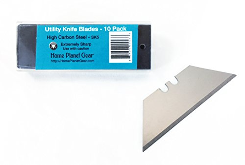 Replacement Blades Ten Pack for Utility Knife - 10 Heavy Duty SK5 High Carbon Steel Utility Razor Blades in Convenient Storage Box | Standard 61mm x 1