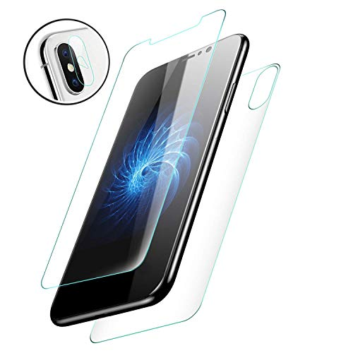 Starred [3in1] Camera, Back & Screen Protector Tempered Glass for Apple iPhone X Front, Backside, Camera Lens Cover