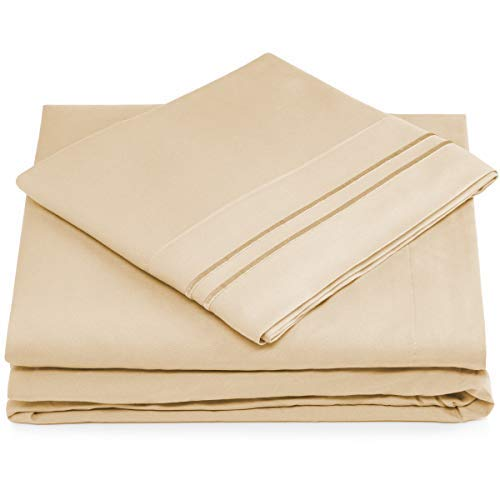 Cosy House Collection King Size Bed Sheets - Cream Luxury Sheet Set - Deep Pocket - Super Soft Hotel Bedding - Cool & Wrinkle Free - 1 Fitted, 1 Flat, 2 Pillow Cases - Beige King Sheets - 4 Piece