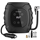 Aoboco Tire Inflator, DC 12V Tire Pump with Digital Touch Screen, Portable Air Compressor for Car Tires with Long Cable and Emergency LED Flashlight