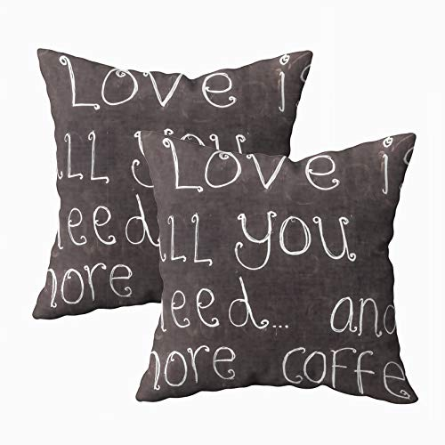 ROOLAYS Art Pillow Case, Square Throw Pillowcase Covers 18X18Inch, UK June Love All You Need More Coffee Blackboard Advertising Sign Cafe 2015 is Customer Both Sides Farmhouse Decor Cushion