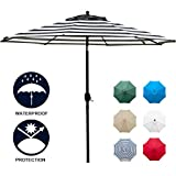Sunnyglade 9' Patio Umbrella Outdoor Table Umbrella with 8 Sturdy Ribs (Balck and White)