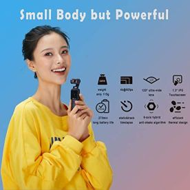 3-Axis-Pocket-Gimbal-Camera-Stabilizer-4K-HD-8X-Slow-Motion-Smart-Tracking-Hyperlapse-Motion-Trail-Time-Lapse-Panoramic-13-Touchscreen-1125-Attachable-to-Smartphone-Video-Vlog-Feiyu-Pocket-Gimbal