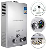 Happybuy 6L Natural Gas Hot Water Heater 1.6GPM 12KW Tankless Water Heater Stainless Steel with Shower Head Kit Wall-Mounted Water Heater
