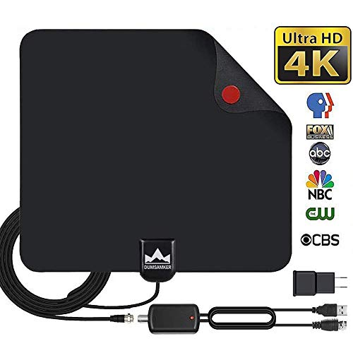 【2019 Latest】 HDTV Antenna Indoor Digital TV Antenna, Dumsamker 120+ Miles Range HD Antenna with Amplifier Signal Booster and 13FT Coaxial Cable - Extremely High Reception