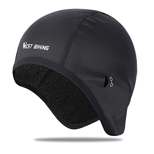 Helmet Liner Skull Cap Beanie with Ear Covers, Windproof Fleece Hat Moisture Wicking for Cycling Running, Skiing Winter Sports, Ultimate Thermal Retention, Fits Under Helmets