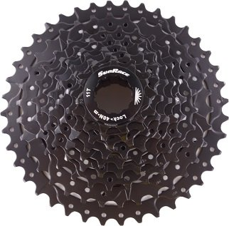 Sunrace 9 speed 11-40T wide ratio MTB cassette CSM990 with rear derailleur extender by JGbike (Black)