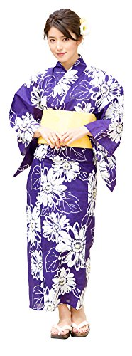 Kimura Jitsugyo Women's Kyoto Traditional Easy Wearing Kawaii Yukata Robe(Japanese Casual Kimono) Full Set 4 Purple & Sunflower Type 2 Woman