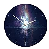 Enjoyba 3D Large Starry Sky Clock Photo Wall Clock Removable Glow in The Dark Clocks