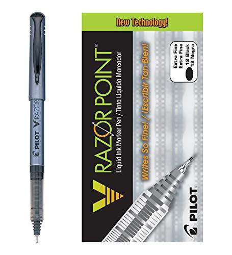Pilot V Razor Point Liquid Ink Marker Pens, Extra Fine Point, Black Barrel, Black Ink, Dozen Box (11020)