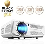 DBPOWER Projector, 3200 Lumens LCD Video Projector, Multimedia Portable Home Theater Projector Support 1080P HDMI USB SD VGA AV for Home Cinema TV Laptop Game iPhone Andriod