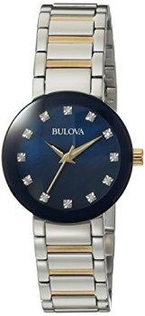 Bulova Women's Analog-Quartz Watch with Stainless-Steel Strap, Multi, 14 (Model: 98P157)