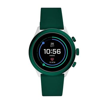 Fossil Men's Sport Heart Rate Metal and Silicone Touchscreen Smartwatch, Color: Grey, Spruce Green (Model: FTW4035)