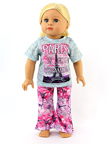 Paris Pajamas -Fits 18' American Girl Dolls, Madame Alexander, Our Generation, etc. | 18 Inch Doll Clothes
