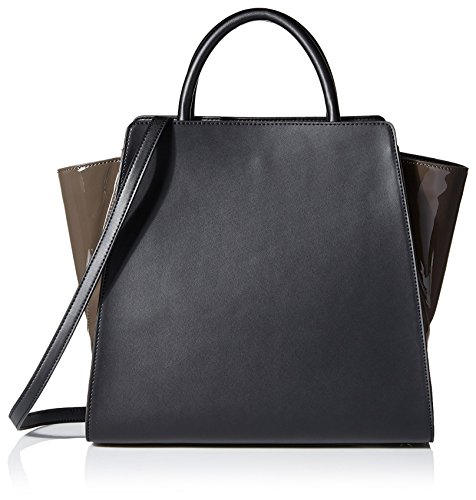 Color-block satchel with rolled top handles featuring contrast wings at sides Optional cross-body strap
