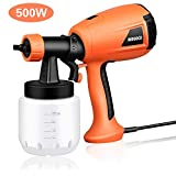 Paint Sprayer, Hvlp Electric Spray Gun with Three Spray Patterns,Adjustable Valve Knob, Quick Refill Lid and 800ml Detachable Container(500W)