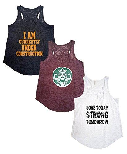 Tough Cookie's Women's Active Wear Burnout Tank Top 3 Pack Deal #4 (Medium - Flowy, Maroon/Black/White)