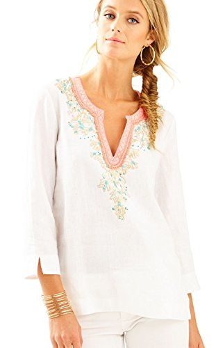 """61wP0qcURnL A Lilly Girl favorite, the Amelia Island Tunic is the ultimate top to bring with you on vacation. This solid linen tunic has custom embroidery and foiling artwork around the notch neckline, and looks great with white shorts or pants.  27"""" Tunic With Notch Neckline And Custom Embroidery And Foiling Artwork Around Neckline.  Airy Linen (100% Linen)."""