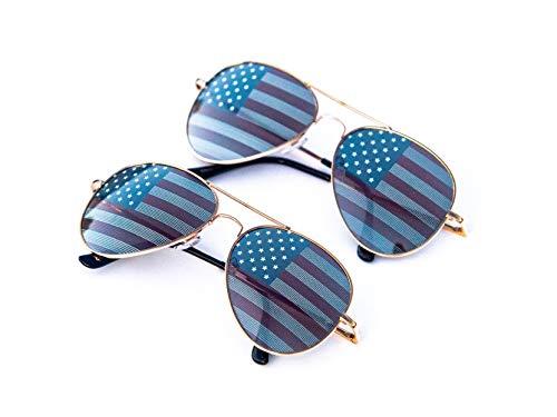 Goson American Flag Mirror Aviator Novelty Decorative Sunglasses (2 Black Combo in Blue Gift Box)