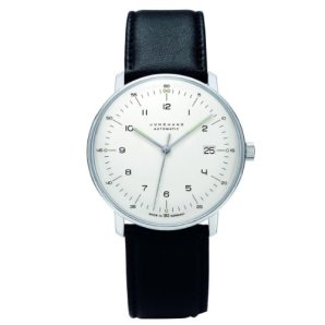 Junghans Max Bill Automatic Mens Watch - 38mm Analog White Face Classic Watch with Luminous Hands and Date - Stainless Steel Black Leather Band Luxury Watch for Men Made in Germany 027/4700.00