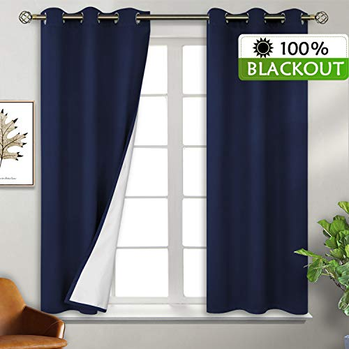 BGment Total Blackout Curtains with Coated Lining, Grommets Thermal Insulated Room Darkening Curtain for Bedroom and Living Room, 38 x 54 Inch, 2 Panels, Navy
