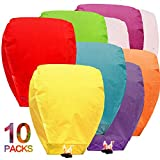 Maylai Sky Lanterns Flying Paper Lanterns Chinese Wish Lanterns for Birthday Wedding Party Anniversary Chinese Lanterns Assorted Colors100% Biodegradable Environmentally Friendly!(10 pcs)