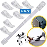 Bebe Earth - Furniture and TV Anti-Tip Straps (8-Pack) for Baby Proofing & Child Protection | Adjustable Wall Anchor Safety Kit | Secure Cabinets & Bookshelf from Falling - PARENT (White)
