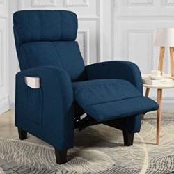 Living Room Slim Manual Recliner Chair (Teal)