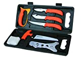 Outdoor Edge WildPak Hunting Knives, 8-Piece Portable Deer Field Dressing Kit and Game Processing Butcher Knife Set, Full Tang Razor Sharp 420J2 Stainless Blades, Sturdy Hide-Side Case