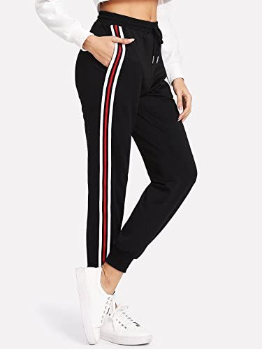 SweatyRocks Women's Drawstring Waist Athletic Sweatpants Jogger Pants with Pocket 3