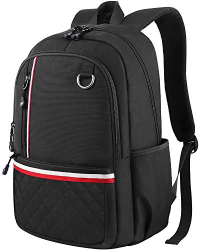 Middle School Backpack, Student Backpack Laptop Bag for Women Men Girls Boys, Cute Lightweight Water-Resistant Slim Computer Bookbag for High School/College/Travel Fits 14 inch Laptop, Black