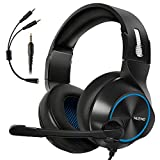 Gaming Headset for Xbox One, PS4, PC, Controller, ARKARTECH Noise Cancelling Over Ear Headphones with Mic, Bass Surround Soft Memory Earmuffs for Computer Laptop Switch Games