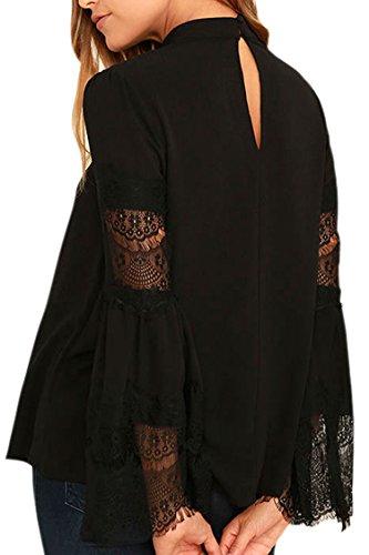 2e0418dd8c133 VamJump Women Black Lace Long Bell Sleeve V Cutout Mock Neck Top ...