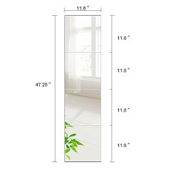 Beauty4U Full Length Tall Mirror Tiles – 12 Inch x 4Pcs Frameless Wall Mirror Set HD Vanity Make Up Mirror for Wall Décor