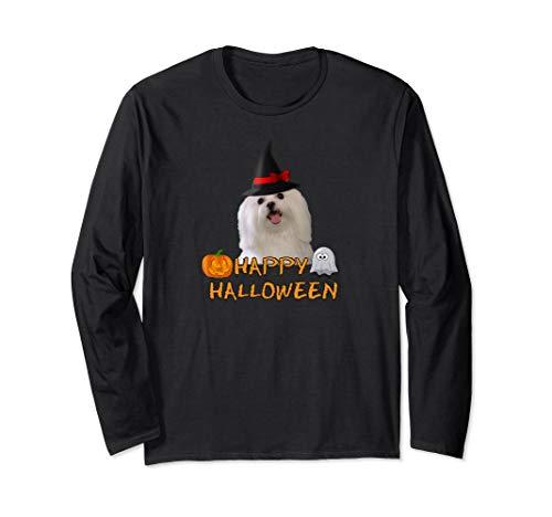 Halloween Maltese Dog Shirt Long Sleeve Pumpkin Ghost