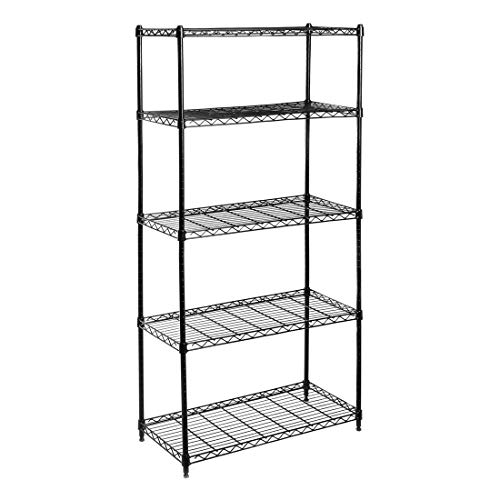 Seville Classics 5-Tier Black Epoxy Steel Wire Shelving, 30' W x 14' D x 60' H,