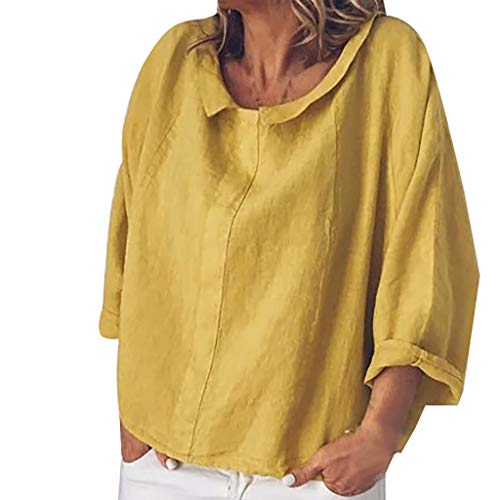 iLOOSKR Women Plus Size Blouse Summer Cool Comfortable Solid Casual Blouse T-Shirt Tops Yellow