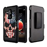 Capsule Case Compatible with T-Mobile Revvl 2 Plus, Alcatel 7 Folio, Alcatel 7 (2018) Metro PCS [Kickstand Holster Combo Heavy Duty Protection Case Black] - (USA Flag Skull)