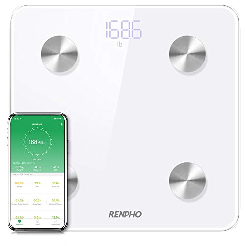 RENPHO Bluetooth Body Fat Scale Smart Digital Bathroom Weight BMI Scale Body Composition Monitor Analyzer with Smartphone App 396 lbs - White