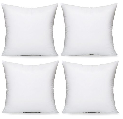 Acanva Hypoallergenic Pillow Insert Form Cushion, Square, 20' L x 20' W, Pack of 4