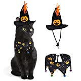 RYPET Cat Halloween Costume - Halloween Cat Collar with Bells and Halloween Pumpkin Hat Cat Costume Suit for Cats and Small Dogs