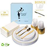 Gold Disposable Plastic Party Plates Set of 25 Fancy Tableware Wedding Christmas Thanksgiving Dinnerware - Elegant Plate Cups Silverware Napkins Mini Appetizer Picks Gold Marker for Holiday Occasions