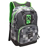 JINX Minecraft Creepy Creeper Kids School Backpack, Grey, 17'