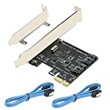 PCI Express SATA 3.0 Controller Card, 2-Port PCIe to SATA III 6GB / s Built-in Adapter Converter, PCI-E to SATA 3.0 Disk Array Card,with Small Bracket and 2 SATA Cable Support SSD and HDD