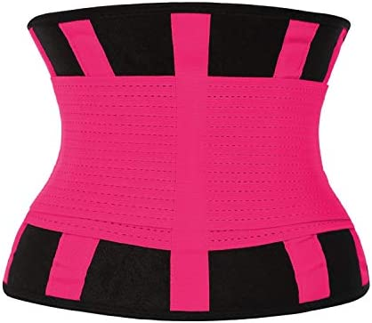 QEESMEI Waist Trainer Belt for Women & Man - Waist Cincher Trimmer Weight Loss Ab Belt - Slimming Body Shaper Belt(Hotpink,Large) 5