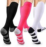 3 pairs Compression Sock for Women & Men - Best For Running, Athletic Sports, Crossfit, Flight Travel - Suits Nurses, Maternity Pregnancy, Shin Splints.
