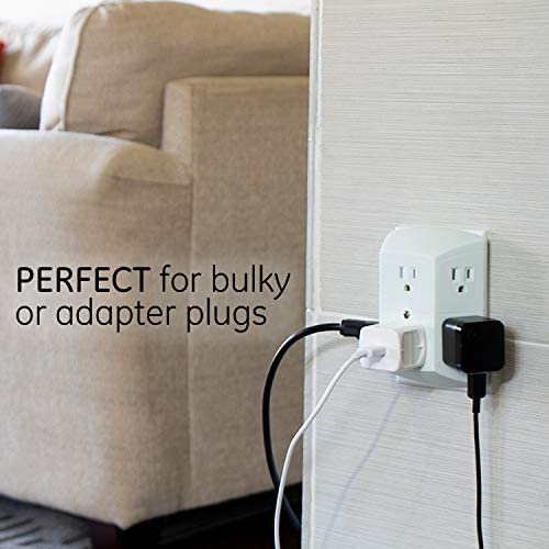 GE 2 Pack, Extra Wide Spaced Cell Phone, 3 Prong, Multi Charger, Quick & Easy Install, White, 40222 6 Outlet Wall Plug Adapter Power Strip, 2 Count 14