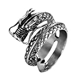 OWMEOT Vintage Gothic Stainless Steel Band Rings Silver Black Chinese Dragon Punk Biker Rings Size 7-12