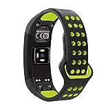 METEQI Replacement Band Compatible with Garmin Vivosmart HR,Soft Silicone Adjustable Watch Straps for Garmin Vivosmart HR Sports Smart Watch (Black/Volt)